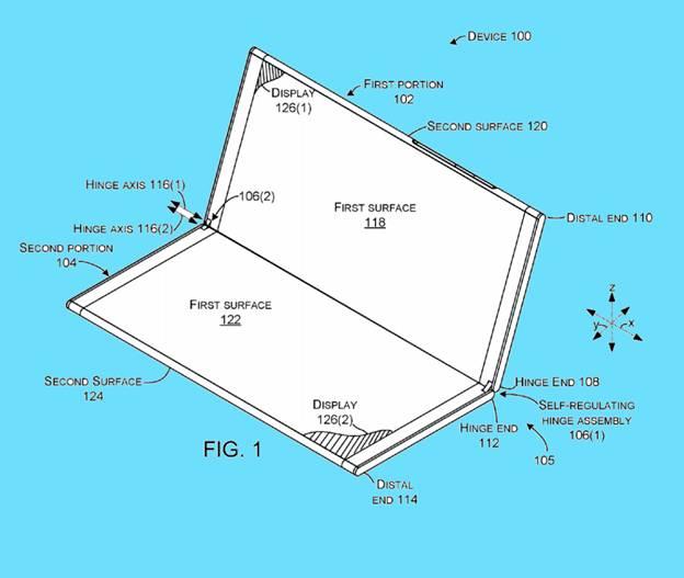 Patent image of Microsoft foldable smartphone